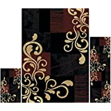 Home Dynamix Ariana Collection 3-Piece Area Rug Set HD1879 502 Ebony/Brown
