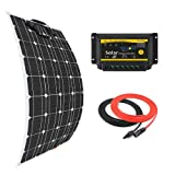 Giosolar 100W Flexible Solar Panel Charger Kit Monocrystalline + 20A PWM LED Solar Controller + 5M Solar Cable for Boats Motorhomes Caravans Off-Grid Systems
