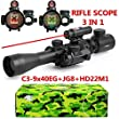 Aipai 3 in 1 Tactical Rifle Scope with 3-9x40mm Dual Illuminated Scope+Red Laser Sight + Red / Green Reticle Holographic Dot Sight W/ 22mm & 11mm Rail Mount With Color Gift Box Package