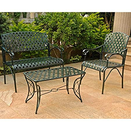 DIAMOND 3 PIECE IRON LOVESEAT SET - LOVESEAT, COFFEE TABLE and 1 CHAIR - PATIO FURNITURE