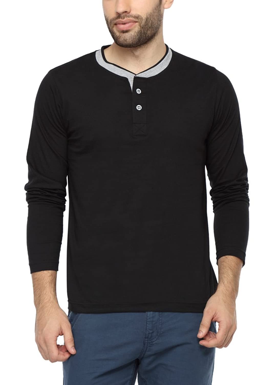 PepperClub Mens Cotton Henley Full Sleeve T-shirt - Double Rib