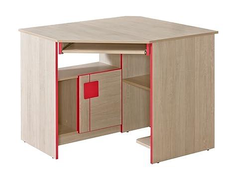 Jugendzimmer - Schreibtisch Elias 11, Farbe: Hellbraun / Rot - Abmessungen: 78 x 97 x 97 cm (H x B x T)
