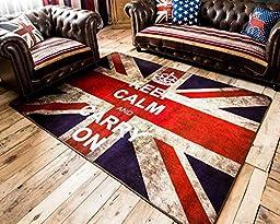 LELVA Very Large Buckingham Great Britain Flag Union Jack Design Retro Style Rugs Non-slip Bedroom Living Room Mats (Rectangle, 60cm x 90cm)
