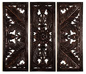 Benzara Wood Wall Plaque Varnished to Make It Long Lasting, Set of 3