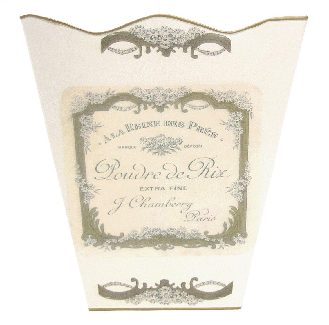 Retro Vintage Wastebasket E13 Trash Can, Trash Bin, Trash Basket ~ Shabby Chic Ivory Enamel with Vintage French Perfume Label. 1
