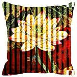 Leaf Designs Red And Green Floral Stripe Cushion Cover