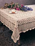 Handmade Crochet Lace Tablecloth. 100% Cotton Crochet. White, 72 Inch X144 Inch Oblong. One piece .