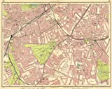 LONDON S:Battersea Clapham Stockwell Brixton Lambeth Tulse Hill, 1930 old map