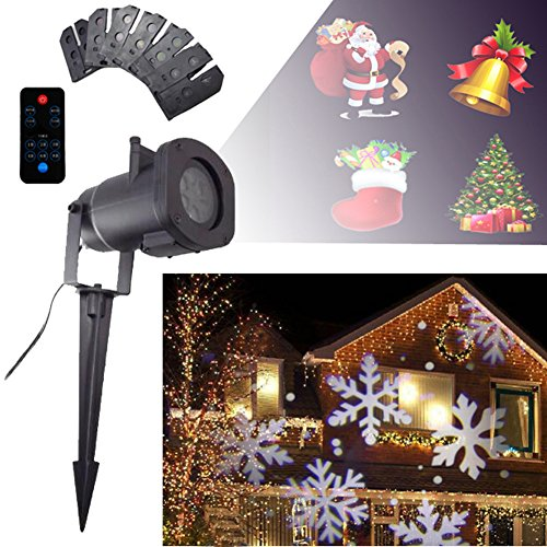 GESIMEI LED Detachable Spotlight Indoor Outdoor Waterproof Grounding Lawn Projector Lamp Fairy 12 Replaceable Patterns Landscape Lighting for Christmas Birthday Wedding Party Stage Garden Patio Wall Decoration