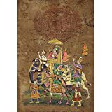 Modern Art Miniatures India Folk Paintings Drawings & Water Color on Paper Procession 33 x 22 Cmsby ShalinIndia