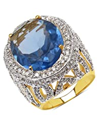 13.80 Grams Violet Glass & White Cubic Zirconia Gold Plated Brass Ring