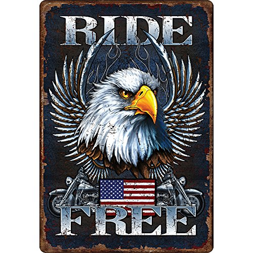 Patriotic and Vintage Motorcycle Ride Free Tin Sign Pre-Punched for Hanging