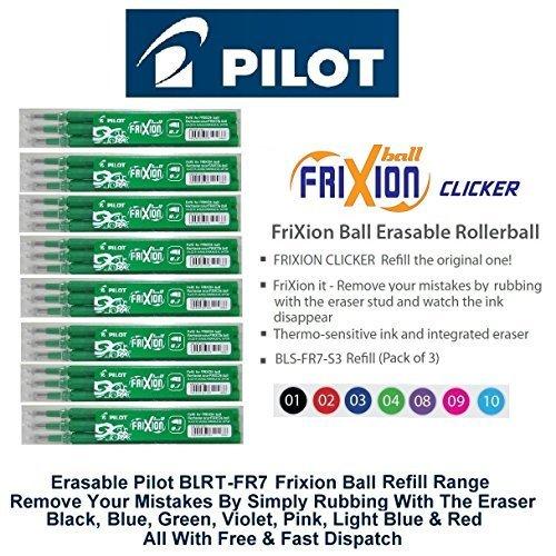 Pilot Recharges pour stylo FRIXION Clicker effaçable Fine Stylo roller rétractable stylos vert de rechange d'encre BLS-FR7(Lot de 3recharges-9)