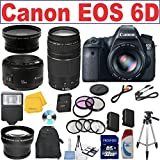 Canon EOS 6D 20.2 MP Full-Frame CMOS Digital SLR Camera w/ Canon EF 75-300mm f/4-5.6 III Telephoto Zoom Lens + Canon EF 50mm f/1.8 II SLR Lens LP-E6 Replacement Lithium Ion Battery w/ 58mm Macro Close Up Kit 32GB SDHC Class 10 Memory Card 58mm Wide Angle / Telephoto Lenses + CT Cloth + Filter Kit Full Size Tripod External Slave Flash Deluxe SLR Backpack + More Accessories