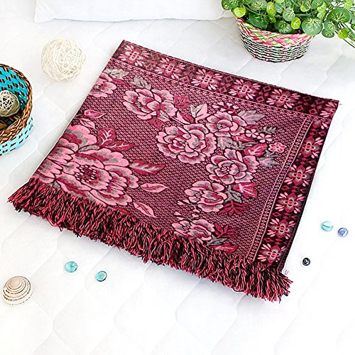 [Flower in Mythology - Dark Red] Jacquard Weave Blanket / Tapestry / Area Rug (59.1 by 86.7 inches)