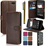 LK Amazon Fire Phone Wallet PU Leather Case Flip Cover Built-in Card Slots & Stand with Free Screen Protector & Stylus (Dark Brown) by Leather Factory Outlet
