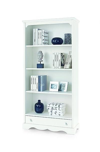Lo Scrigno Arredamenti, Libreria Classica 4 ripiani 1 cassetto bianco opaco W1502/L