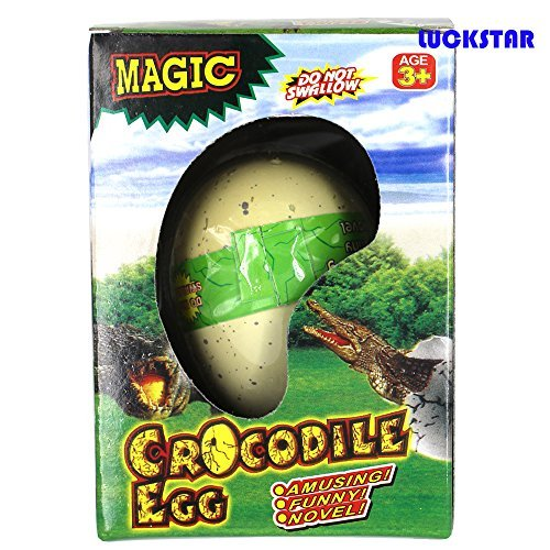 LUCKSTAR(TM) 1Pcs Growing Dinosaur Snake Penguin Chick Lizard Turtle Crocodile Egg Magic Hatch Grow Egg Growing Pet Novel Toy for Children-Automatic Hatch Out Egg and Grow by Putting into the water under 36 Degrees Celsius-Crocodile