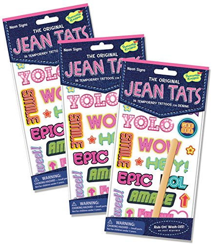 Peaceable Kingdom Jean Tats Neon Signs Temporary Tattoos for Fabric - 3 Pack