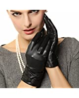 Warmen Women's Lambskin Leather Cold Weather Gloves with Crossing Bow