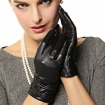 WARMEN Hot Women's Geniune Leather Winter Warm Gloves with Crossing Bow Details (M, Black)