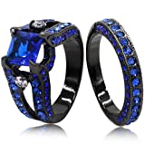 Jude Jewelers Black Blue Princess Cut Cubic Zirconia Wedding Ring Set (7) (Color: Black)