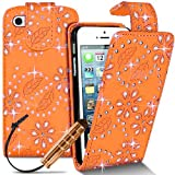 Orange Girly iPhone 5-5s Bling 3D Flip Diamond Sparkle PU Leather Gemmed Case Cover for Women Girls Ladies Diamante Gem Glitter Wallet Includes New Screen Protector & Free Stylus Pen Apple iPhone 5-5s Cases Covers and Accessories by iChoose®