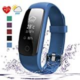 007plus Fitness Tracker HR, D107Plus Heart Rate Monitor Fitness Smart Watch Activity Tracker with Sleep Monitor IP67 Waterproof Pedometer Smart Wristband (Blue)