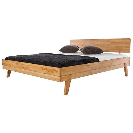 Bett Holzbett Doppelbett Eidsberg, 160x200, Massivholz Holz Kernbuche massiv geölt, Breite 168 cm, Tiefe 214 cm, Höhe 88 cm