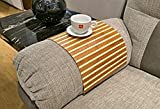 Stylish flexible sofa tray from natural bamboo with brown and clear strips finish. Couch tray. Stylish couch decor. Sofa arm tray. Couch cover. Couch arm tray. Sofa mat. Wooden laptop tray. Coffee tray place mat. Unique gift idea for her and him.