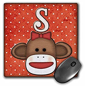 3dRose LLC 8 x 8 x 0.25 Inches Mouse Pad, Cute Sock Monkey Girl Initial Letter S (mp_102822_1) at 'Sock Monkeys'