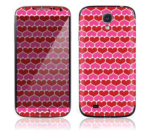 Best  Samsung Galaxy S4 S IV Decal Phone Skin Decorative Sticker w/ Free Matching Wallpaper Download - Hot Hearts