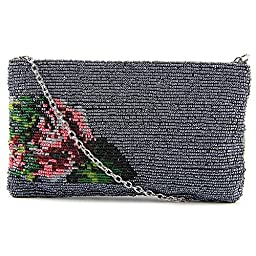 La Regale Beaded Rose Clutch, Gun Multi, One Size