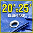 20' X 25' Large Blue Multi-Purpose 6-mil Poly Tarp for roofs, Trucks, RV Cover 20x25 Waterproof Construction Grade Tarpaulin by Grizzly Tarps