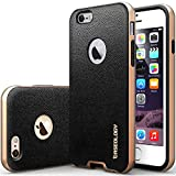 "iPhone 6 Case, Caseology [Bumper Frame] Apple iPhone 6 (4.7"" inch) Case [Leather Black] Slim Fit Skin Cover [Shock Absorbent] TPU Bumper iPhone 6 Case [Made in Korea] (for Apple iPhone 6 Verizon, AT&T Sprint, T-mobile, Unlocked)"