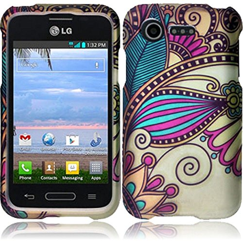 Hr Wireless Rubberized Design Cover For Lg Optimus Zone 2 L34C Fuel - Retail Packaging - Antique Flower