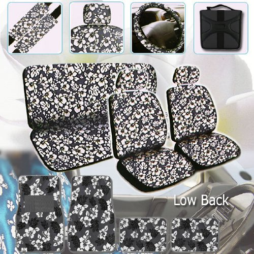 UNIVERSAL HAWAIIAN SEAT CAR SEAT COVERS SET IN FLORAL PRINT WITH LOW BACK BUCKET FRONT SEAT COVERS, HEAD REST COVERS, REAR BENCH COVERS, STEERING WHEEL COVER AND SHOULDER PADS. BONUS STYLISH 24 DISC CAPACITY CD WALLETS