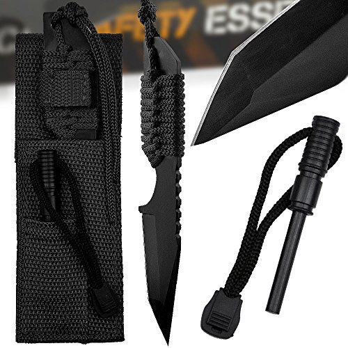 "Tactical Safety Essentials 7.5"" Tanto Fixed Blade Knife Survival Paracord + Magnesium Firestarter (Black)"