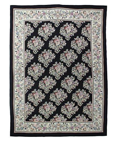 Bashian Floral Wool Rug, Black, 9' x 12' 3