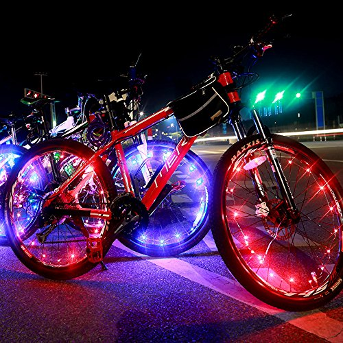 DAWAY A01 Waterproof Bike Wheel Lights - 20 LED Colorful Lightweight Light Strip for Bicycle Spokes or Rim - Cool Tire Accessories Best Christmas Gifts(Multi-color) (Led Light Strip For Bikes compare prices)