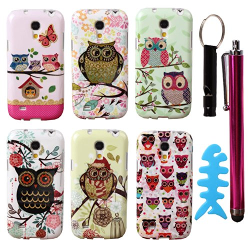 Teenitor(Tm) #01 Bulk Pack Of 6 Cases Cute Bling Owl Cartoon Design Animal Slim Soft Tpu Skin Cover Case For Samsung Galaxy S4 Mini I9190 (With Stylu, Fish Earphone Cable Organizer And Whistle) Shipping From Usa