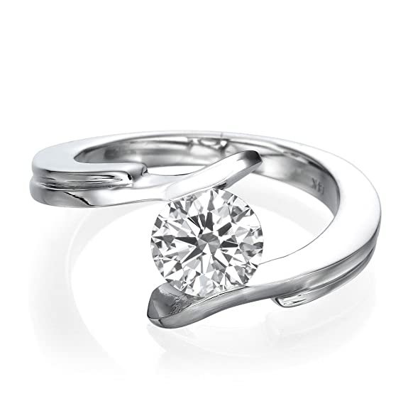 Diamond Engagement Ring Genuine 0.30 CT Round Cut Main Stone H/SI1 (Clarity Enhanced)14ct White Gold