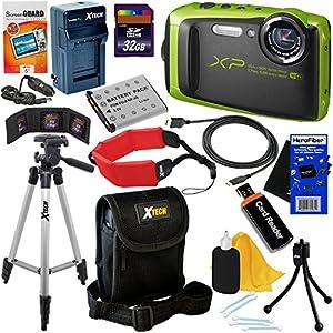 Fujifilm FinePix XP90 16.4MP Waterproof Wi-Fi Digital Camera with 5x Zoom (Black/Green) - International Version (No Warranty) + Battery & AC/DC Charger + 11pc 32GB Dlx Accessory Kit w/ HeroFiber Cloth