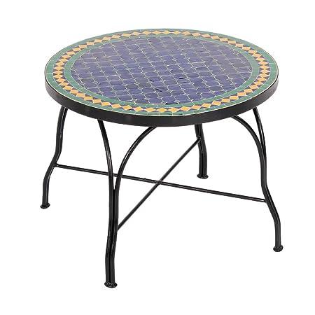 Marokkanischer Mosaiktisch 60cm COUCHTISCH L Gartentisch Beistelltisch Terrassentisch Fliesentisch (Fareo: blau/grun/gelb)