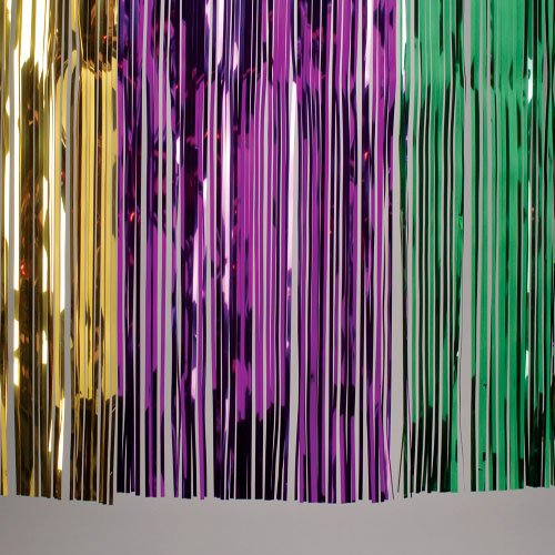 One Metallic Tinsel Mardi Gras Theme Table Skirt
