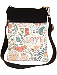 Snoogg Love Colorful Birds Cross Body Tote Bag / Shoulder Sling Carry Bag