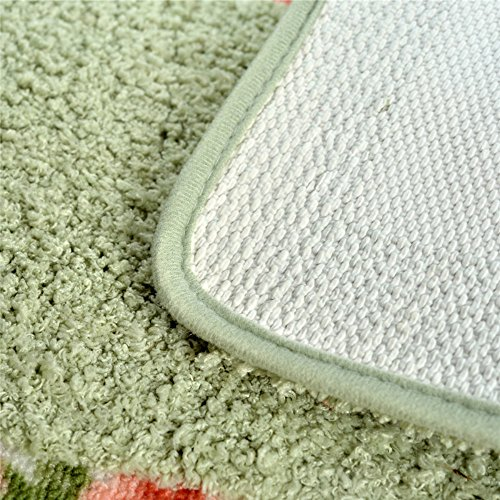 Stay Young® 17.71*29.52 Inch Decorative Floral Rural Style Beautiful Rose Flower Shaggy Area Rug Soft Doormat Floor Mat Non Slip Bath Mat Bathroom Shower Rug Carpet (Green)