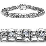1.90 Carat Genuine Tanzanite and Diamond Silver Bracelet