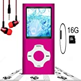 MP3 Player / MP4 Player, Hotechs MP3 Music Player with 16GB Memory SD Card Slim Classic Digital LCD 1.82'' Screen Mini USB Port with FM Radio, Voice Record (Color: 16Gb-ROSERED.-2)