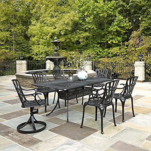 Home Styles 5560-3758C 7-Piece Dining Set with Cushions, Charcoal Finish
